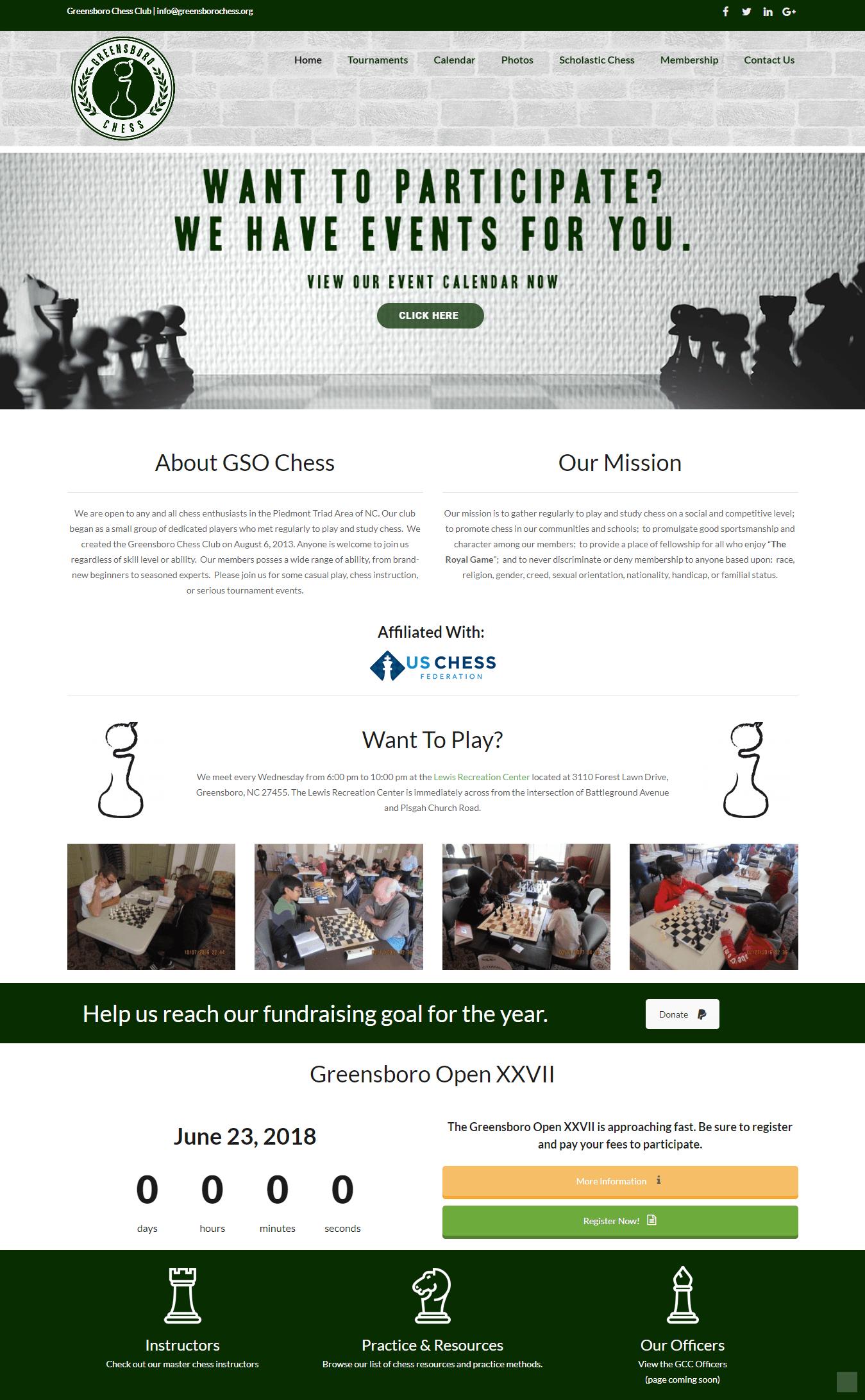 iMac with screenshot of Greensboro Chess Club website designed by Greensboro website design company Noctem Media.