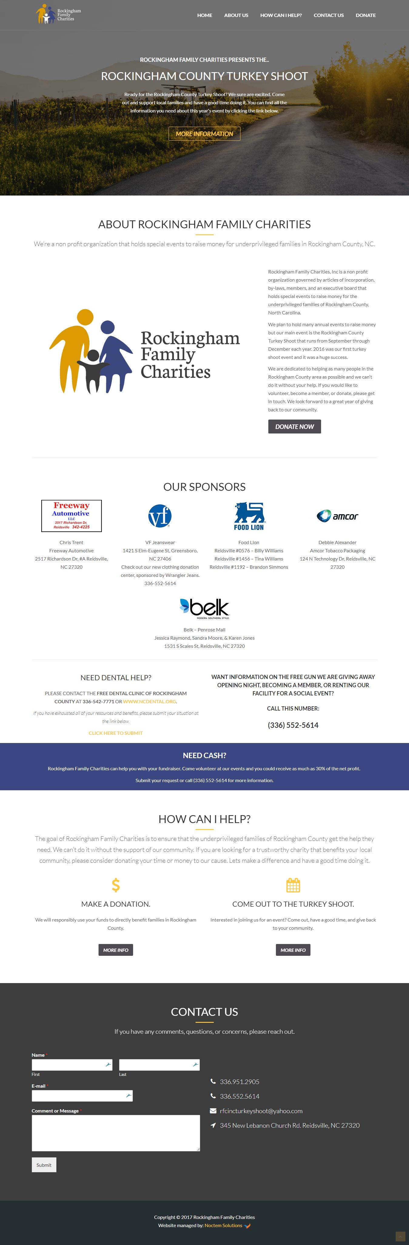 iMac with screenshot of Rockingham Family Charities website designed by Greensboro website design company Noctem Media.
