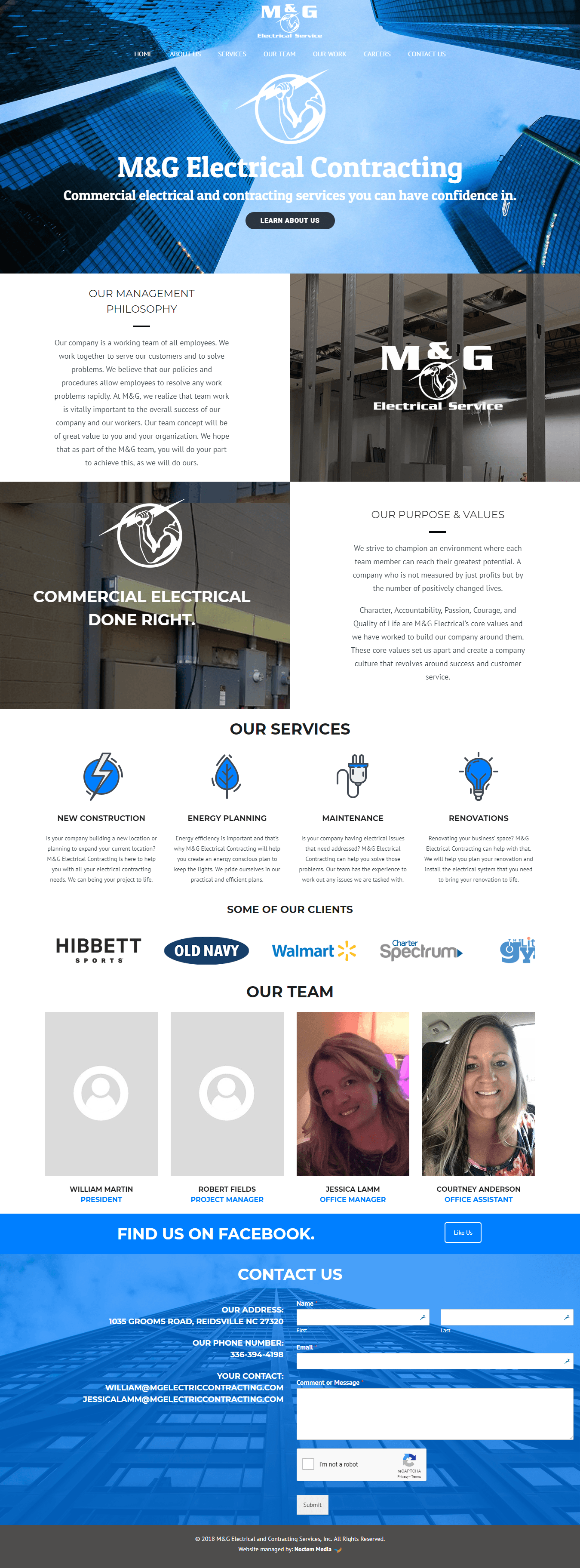 iMac with screenshot of M&G Electrical Company's website designed by Greensboro website design company Noctem Media.