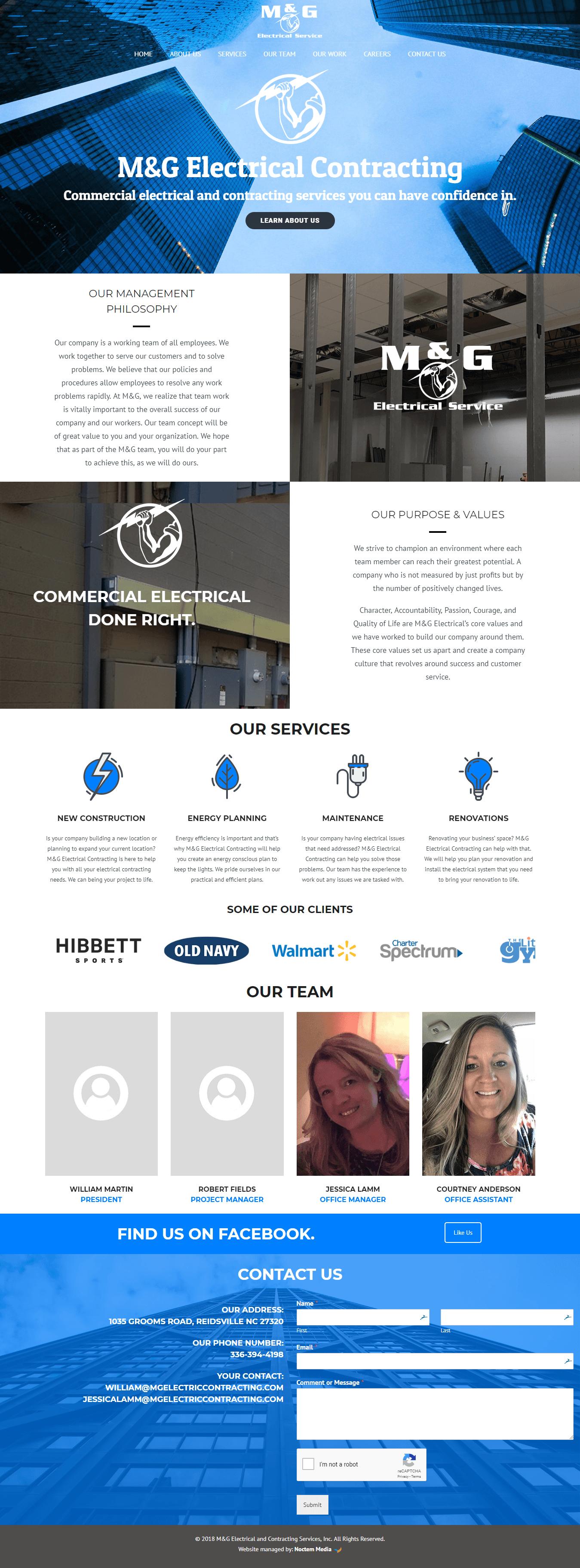 iMac with screenshot of M&G Electrical Company's website designed by Greensboro website design company Noctem Media.