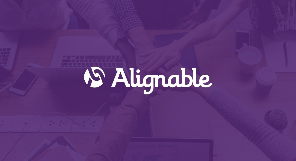 "Alignable logo over purple background. This is the featured image for ""What is Alignable"" article."