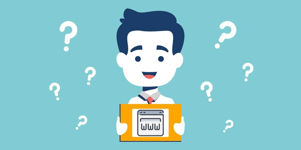 Need a website? Ask questions. Man hold tablet with website icon inside.